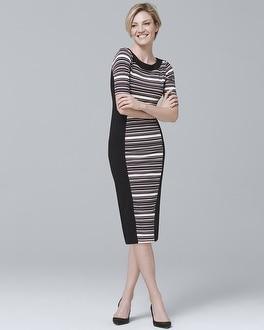 White House Black Market Elbow-Sleeve Stripe Knit Sheath Dress at White House | Black Market in Sherman Oaks, CA | Tuggl