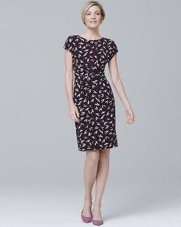 White House Black Market Cap Sleeve Leaf Print Knit Dress at White House | Black Market in Sherman Oaks, CA | Tuggl