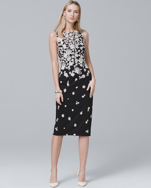 Sleeveless Fl Embroidered Sheath Dress