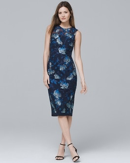 Sleeveless Embroidered Mesh Sheath Dress | Tuggl