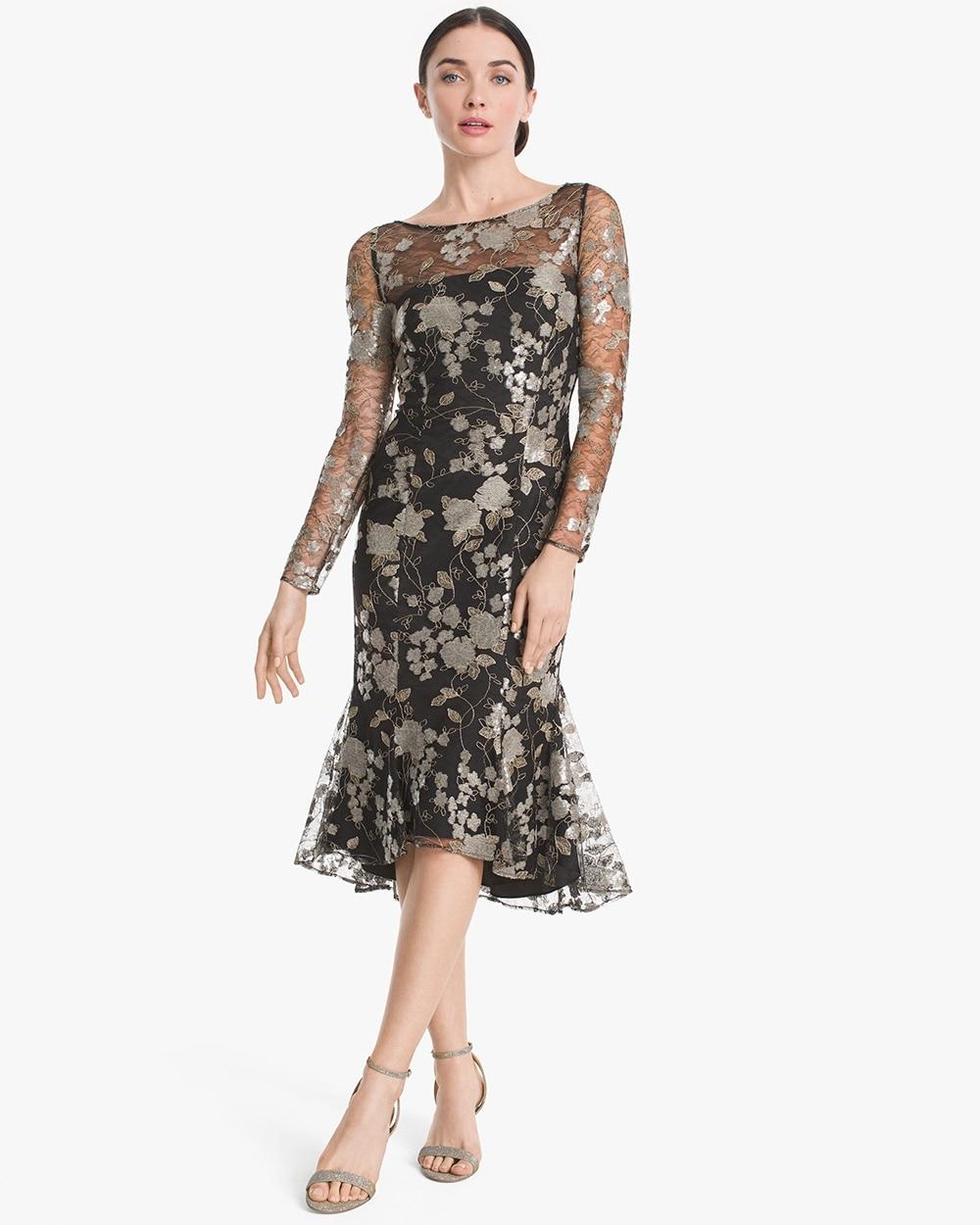 fef18cc30c Return to thumbnail image selection Illusion Floral Lace Flounce-Hem Dress  video preview image