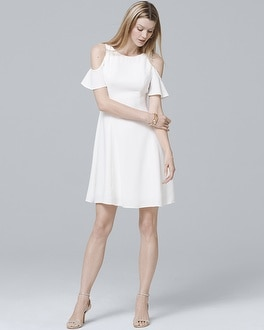 Cold Shoulder White Fit And Flare Dress by Whbm