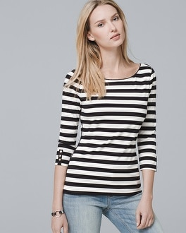 White House Black Market 3/4-Sleeve Striped Knit Top at White House | Black Market in Sherman Oaks, CA | Tuggl