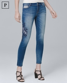 Petite Floral-Embroidered Crop Jeans | Tuggl
