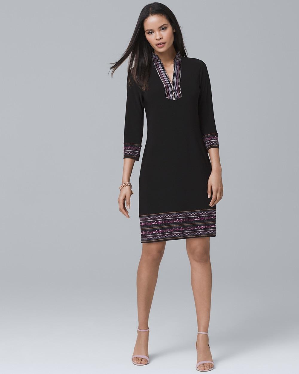 Three Quarter Sleeve Embellished Knit Shift Dress