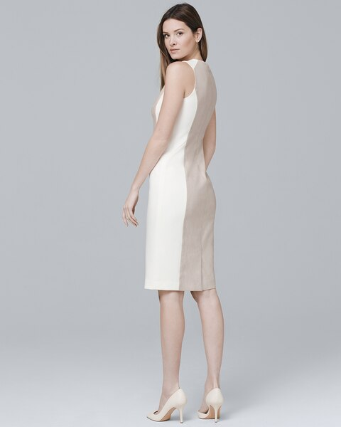 c76d9c448995c Return to thumbnail image selection Sleeveless Linen-Blend Paneled Sheath  Dress