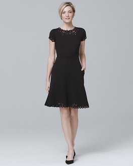 Cap Sleeve Black Laser Cut A Line Dress by Whbm