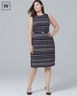 Plus Sleeveless Striped Sheath Dress by Whbm