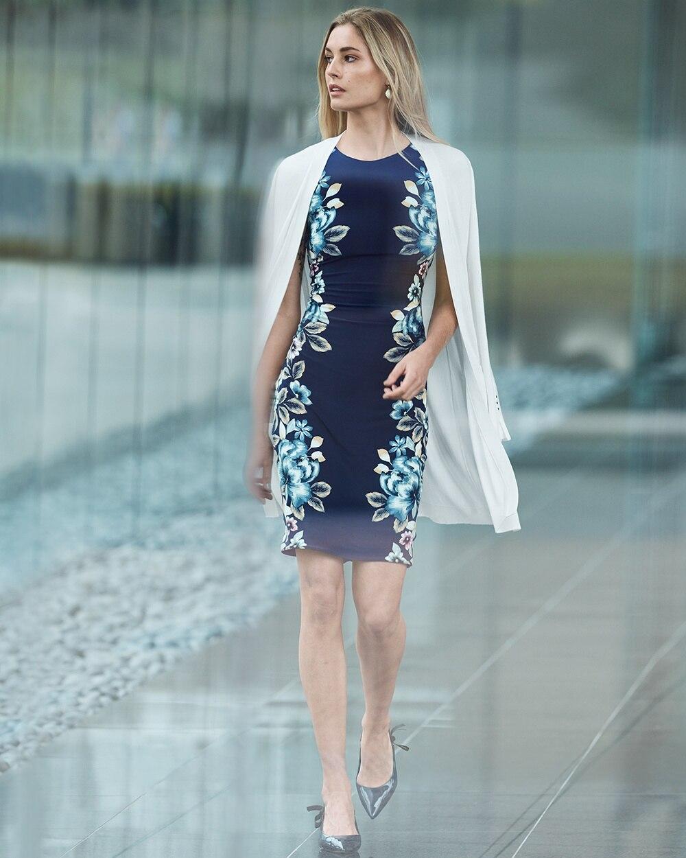 0c53cbd0 Return to thumbnail image selection Reversible Floral Print Knit Sheath  Dress