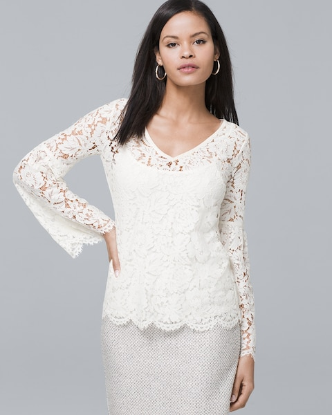 d9f0378f6f4477 Long-Sleeve Allover Lace Top - White House Black Market