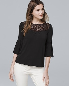 Bell Sleeve Lace Inset Knit Top by Whbm