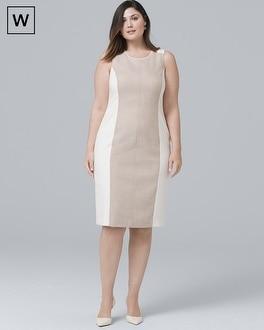 White House Black Market Plus Sleeveless Linen-Blend Paneled Sheath Dress at White House | Black Market in Sherman Oaks, CA | Tuggl