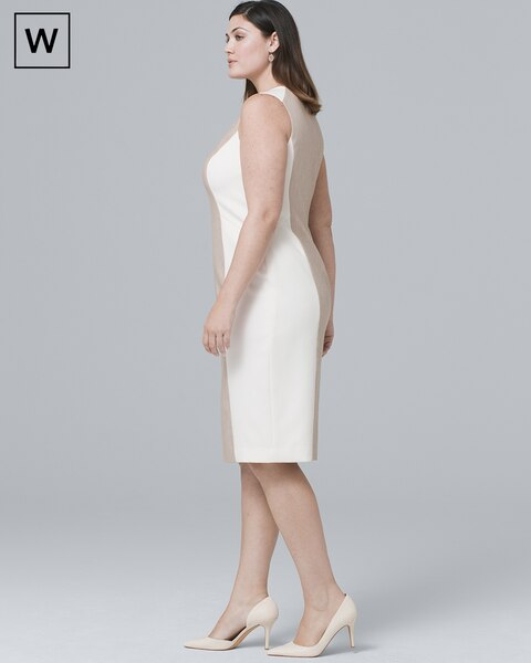 f042d123516ac Return to thumbnail image selection Plus Sleeveless Linen-Blend Paneled  Sheath Dress