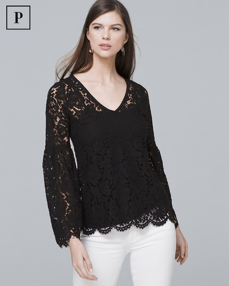 Petite Long-Sleeve Allover Lace Top