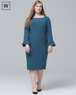 White House Black Market Plus Body Perfecting Ruffle Three Quarter-Sleeve Sheath Dress at White House | Black Market in Sherman Oaks, CA | Tuggl