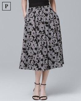 Petite Gingham-Floral Full Midi Skirt | Tuggl