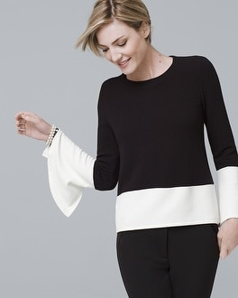 White House Black Market Two-Tone Bell-Sleeve Knit Top at White House   Black Market in Sherman Oaks, CA   Tuggl