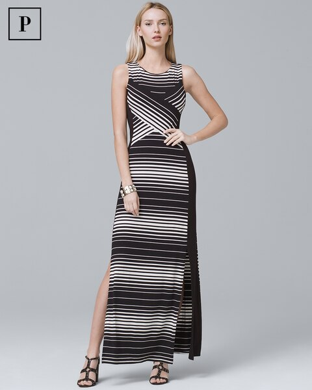 4b87466c64 Petite Sleeveless Stripe Knit Maxi Dress