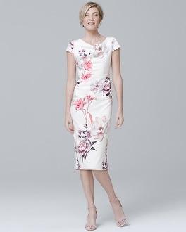 White House Black Market Cap-Sleeve Lily-Print Sheath Dress at White House | Black Market in Sherman Oaks, CA | Tuggl