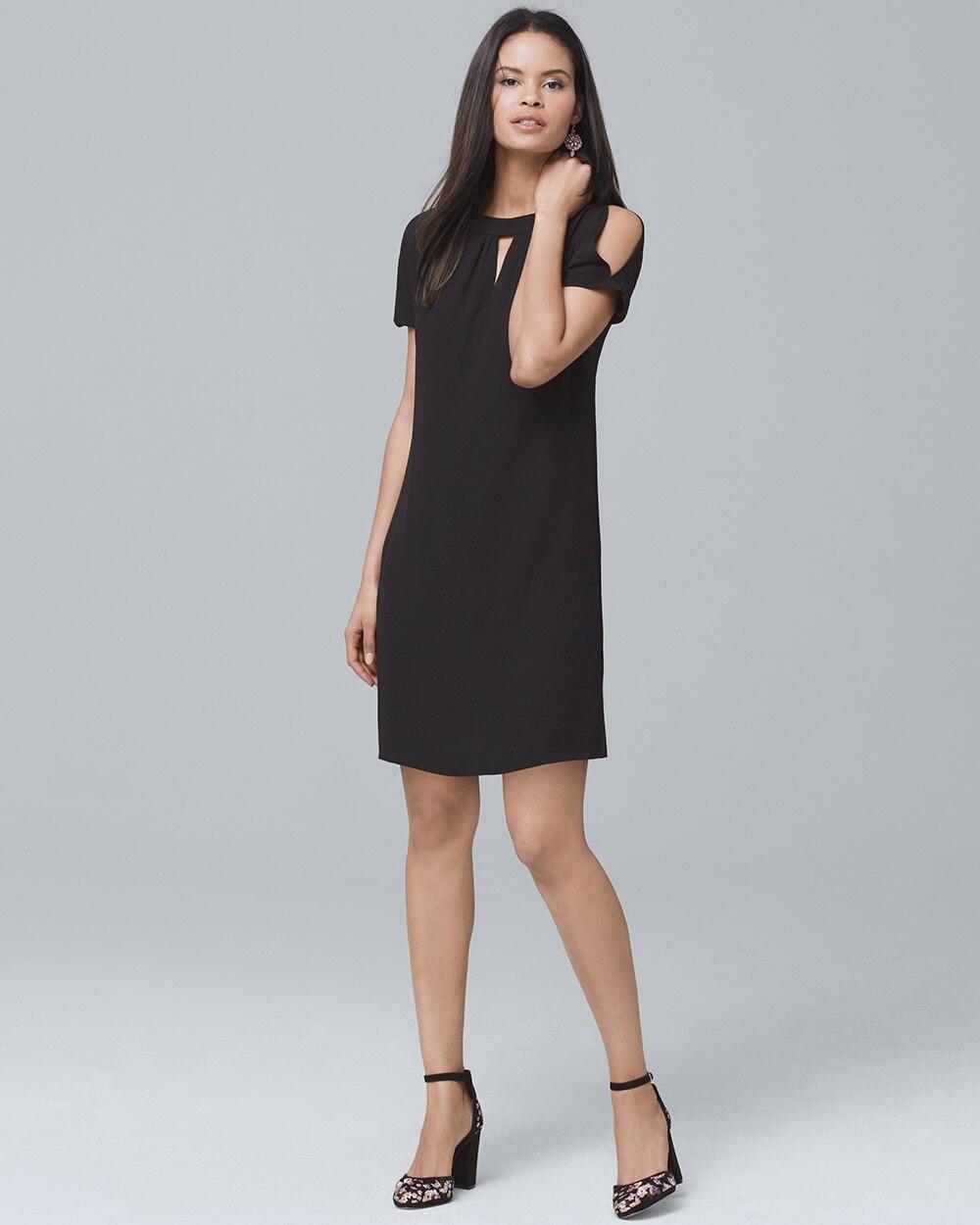 e0c2a1f089fc Short-Sleeve Black Cold-Shoulder Shift Dress - White House Black Market
