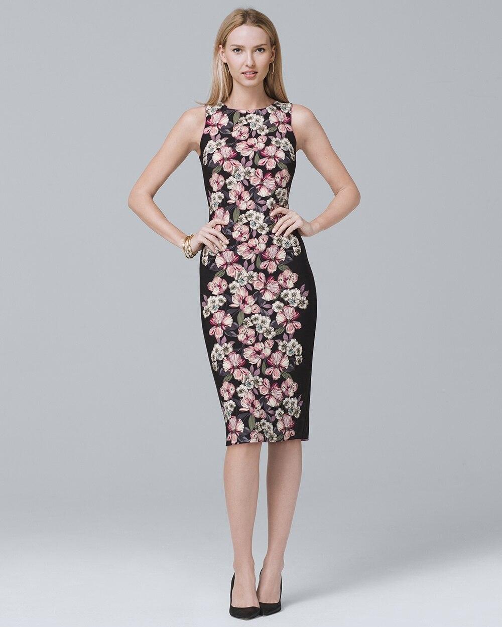 c6f3f8b658 Reversible Floral-Print Sheath Dress - White House Black Market