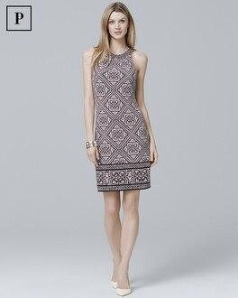 Petite Reversible Sleeveless Printed Knit Shift Dress | Tuggl