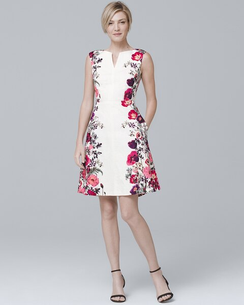 586e62a20f7 Sleeveless Floral-Print Fit-and-Flare Dress - White House Black Market