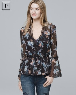 Petite Floral Print Flared Top | Tuggl