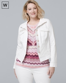 Plus White Denim Jacket | Tuggl
