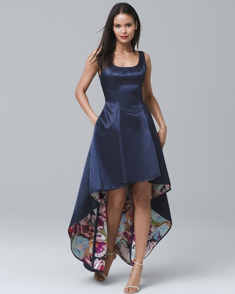 83058bcc47e57 Return to thumbnail image selection Sleeveless Satin High-Low Dress video  preview image