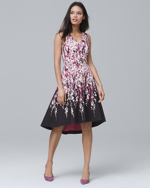 Fl Print High Low Fit And Flare Dress