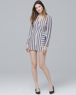 Silk Stripe Wrap Front Romper by Whbm