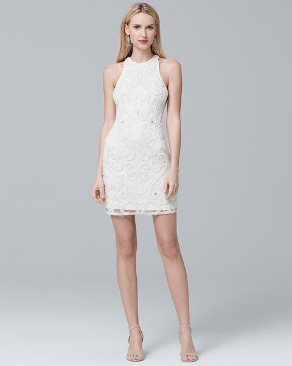 Sleeveless White Beaded Sheath Dress White House Black Market