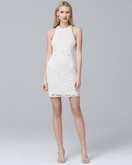 Sleeveless White Beaded Sheath Dress at White House | Black Market in Sherman Oaks, CA | Tuggl