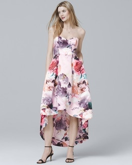 Strapless Floral High-Low Dress | Tuggl