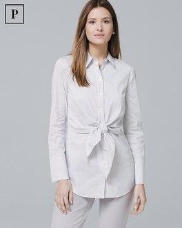Petite Tie-Front Poplin Shirt | Tuggl