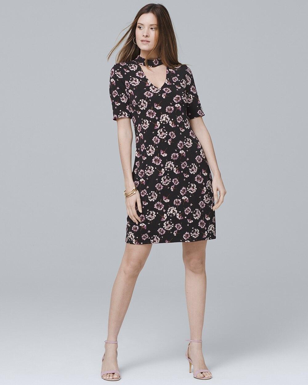8156ea4dc7 Reversible Short-Sleeve Choker Knit Shift Dress - White House Black Market