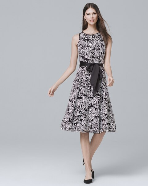 Sleeveless Floral Lace Midi Fit And Flare Dress White House Black