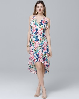 Silk Halter Floral Ruffle High-Low Dress | Tuggl