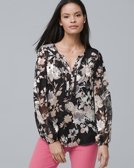 Split Neck Floral Print Blouse by Whbm