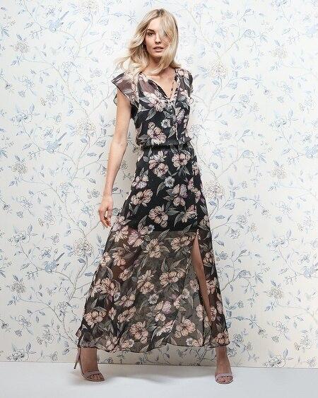 28b63c2dfe1 ... Petite Flutter-Sleeve Floral-Print Woven Maxi Dress thumbnail image