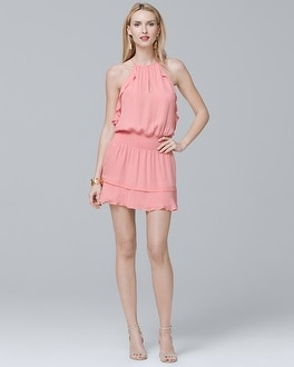 Silk Halter Ruffle Blouson Dress | Tuggl