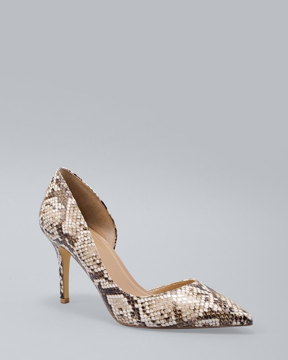 Snake-Embossed Leather D'Orsay Heels