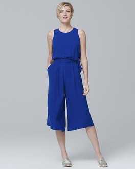 White House Black Market Vince Camuto Sleeveless Cropped Wide-Leg Jumpsuit at White House | Black Market in Sherman Oaks, CA | Tuggl