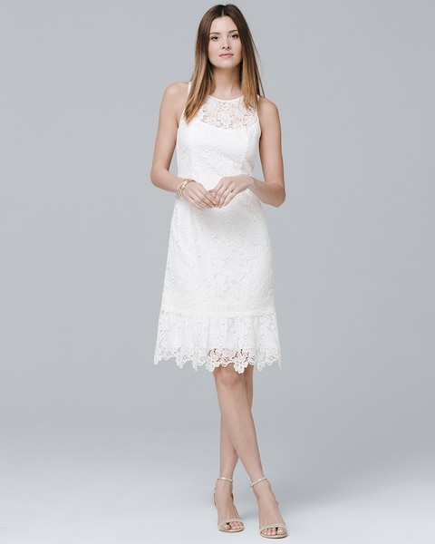 f49fabbff72 Sleeveless White Floral Lace Flounce-Hem Shift Dress - White House Black  Market
