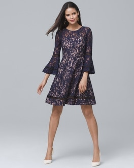 Bell-Sleeve Lace Fit-and-Flare Dress at White House | Black Market in Sherman Oaks, CA | Tuggl