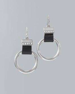 Circle & Leather Drop Hoop Earrings by Whbm