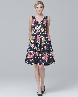 Sleeveless Floral-Print Scuba Knit Fit-and-Flare Dress at White House | Black Market in Sherman Oaks, CA | Tuggl