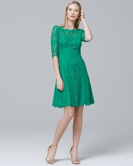 Elbow Sleeve Lace Fit And Flare Dress by Whbm