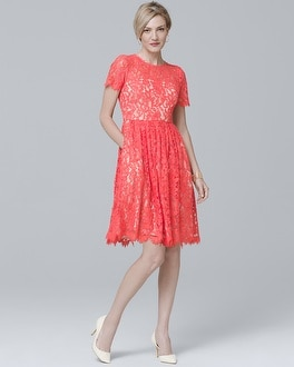 Short-Sleeve Lace Fit-and-Flare Dress | Tuggl